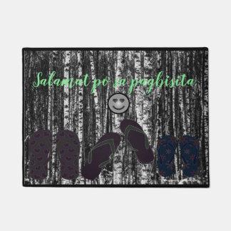 """Salamat po sa pagbisita """"black and white trees"""" doormat"""