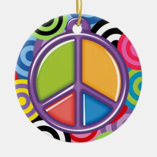 SALE! - A Peaceful Theme - Peace Sign Round Ceramic Ornament