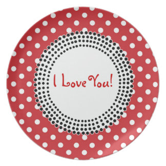 SALE - Crazy Polka Dot I Love You Valentine Plate