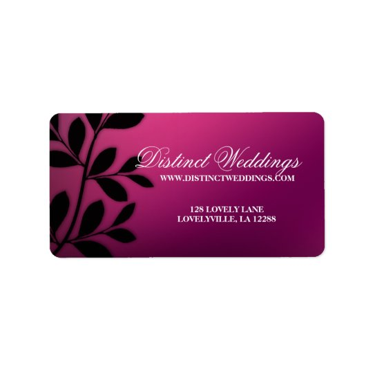 SALE! Elegant Wedding Label Leaves Pink Purple
