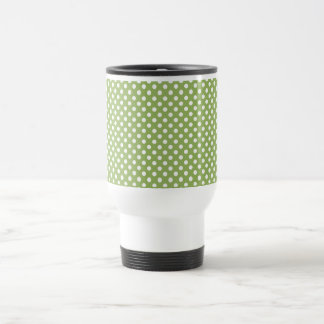 SALE - Kiwi Green Polka Dot Retro Travel Mug