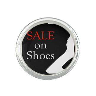 Sale on shoes with silhouette of a shoe rings