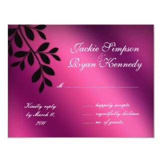 SALE! RSVP Reply Card Leaves Pink Purple Black