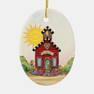 SALE! School House - SRF Ceramic Oval Ornament