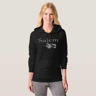 """Salem"" Massachusetts Grey Witch Hoodie for women"