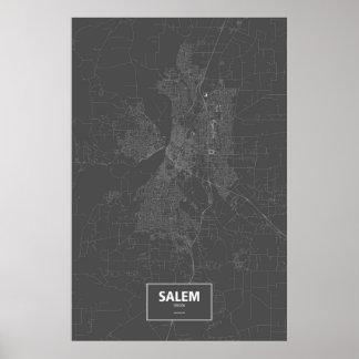 Salem, Oregon (white on black) Poster