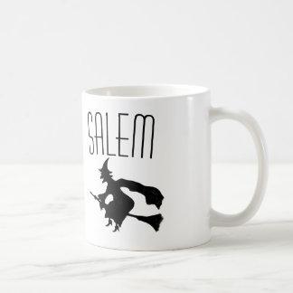 Salem witch on broomstick coffee mug