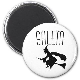 Salem witch on broomstick magnet