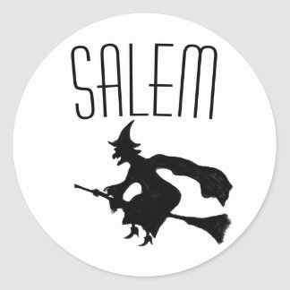 Salem witch on broomstick stickers