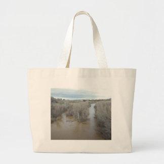 Salinas River North of Veterans Memorial Bridge Large Tote Bag