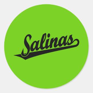 Salinas script logo in black classic round sticker