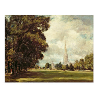 Salisbury Cathedral from Lower Marsh Close, 1820 Postcard