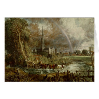 Salisbury Cathedral From the Meadows, 1831 Card
