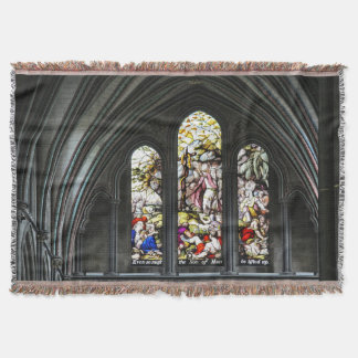 Salisbury Cathedral Transept Stained Glass Window Throw Blanket