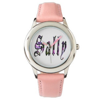 Sally, Name, Logo, Girls Pink Leather Watch. Watch
