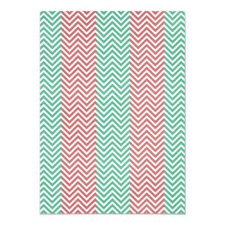 Salmon and Green Chevron Striped Zig Zags Card