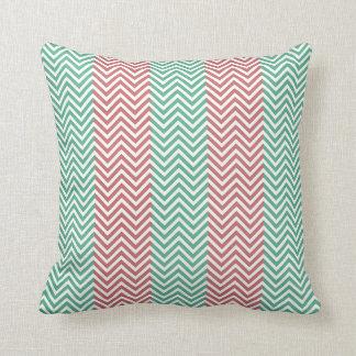 Salmon and Green Chevron Striped Zig Zags Throw Pillow