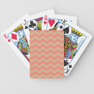 Salmon and Tan Chevron Bicycle Playing Cards