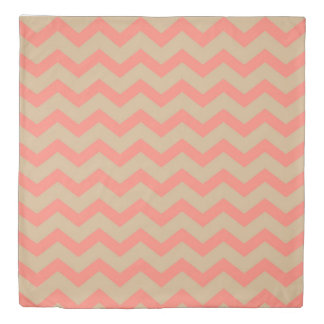 Salmon and Tan Chevron Duvet Cover