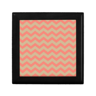 Salmon and Tan Chevron Gift Box