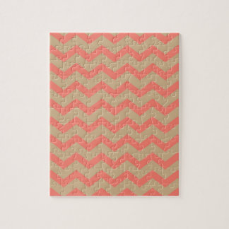 Salmon and Tan Chevron Jigsaw Puzzle