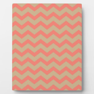 Salmon and Tan Chevron Plaque