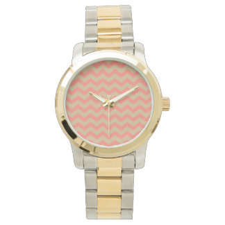 Salmon and Tan Chevron Watch