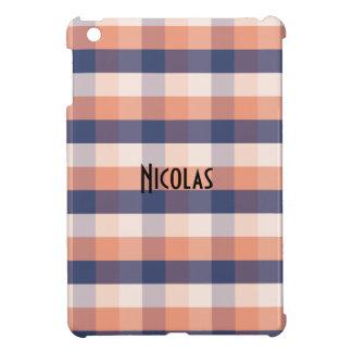 Salmon Blue Beige Gingham Pattern Custom Name iPad Mini Cases