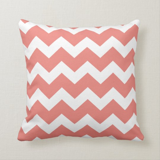 Salmon Chevron Throw Pillow
