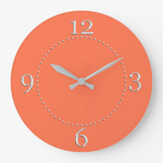 Salmon Coral Color Decor on a Large Clock