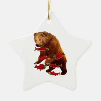 Salmon fishing ceramic ornament