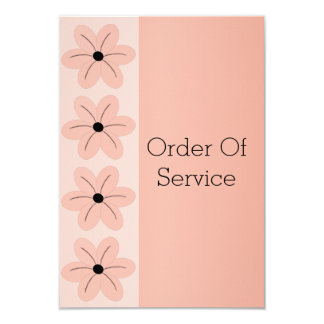 "Salmon Floral Wedding Order Of Service 3.5"" X 5"" Invitation Card"