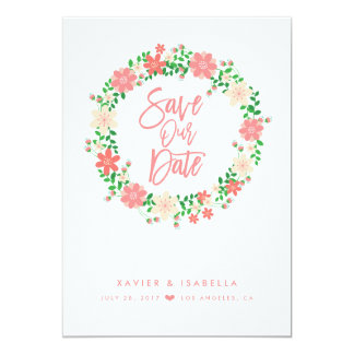Salmon Floral Wreath Save The Date Announcement