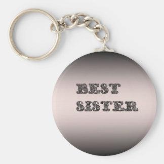 Salmon metallic Best Sister Key Chain