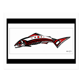 Salmon Native art Postcard