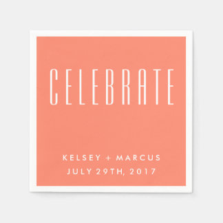 Salmon Peach Celebrate Wedding Napkins Paper Napkin