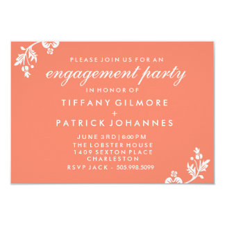 """Salmon Peach Floral Engagement Party Invite 3.5"""" X 5"""" Invitation Card"""