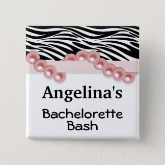 Salmon Pearls And Ribbon Guest Party Favor 2 Inch Square Button