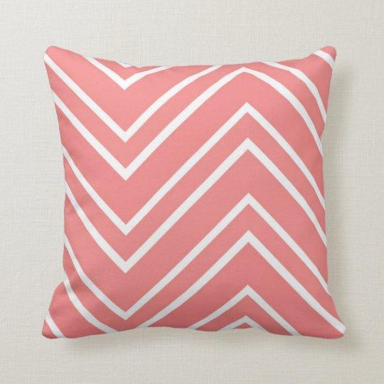 Salmon Pink and White Large Chevron Pattern Throw Pillow