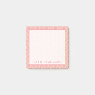 Salmon Pink Damask Post-it Notes
