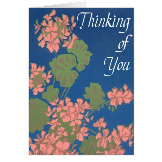 Salmon Pink Geraniums on Blue Thinking of You Card