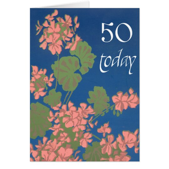 Salmon Pink Geraniums on Deep Blue, 50th Birthday Card