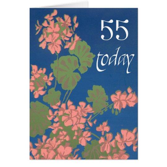 Salmon Pink Geraniums on Deep Blue, 55th Birthday Card