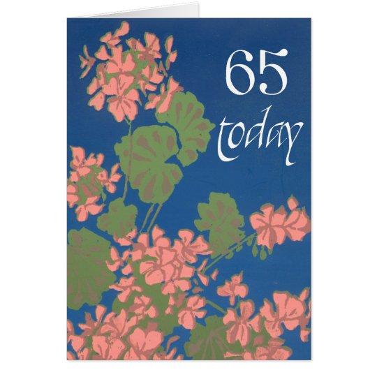 Salmon Pink Geraniums on Deep Blue, 65th Birthday Card