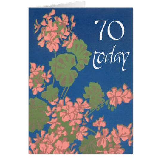 Salmon Pink Geraniums on Deep Blue, 70th Birthday Card