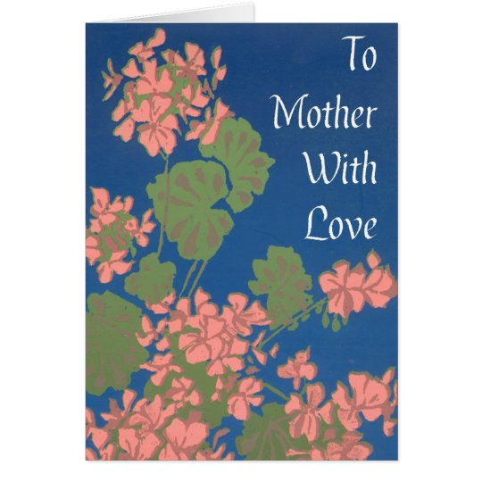 Salmon Pink Geraniums on Deep Blue for Mother Card