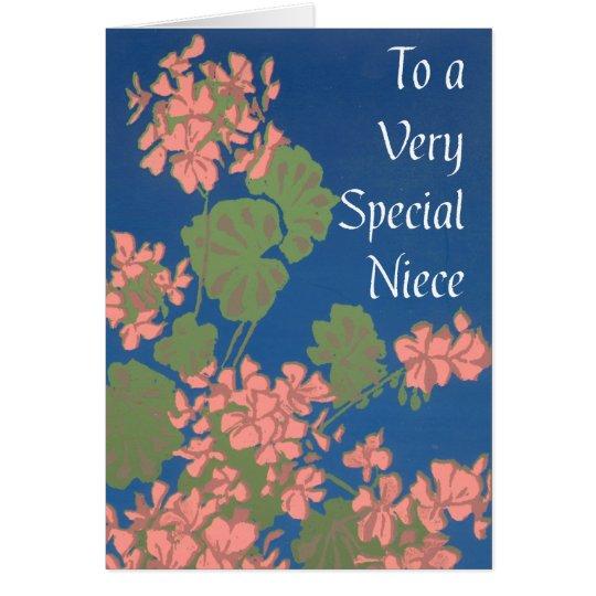 Salmon Pink Geraniums on Deep Blue for Niece Card