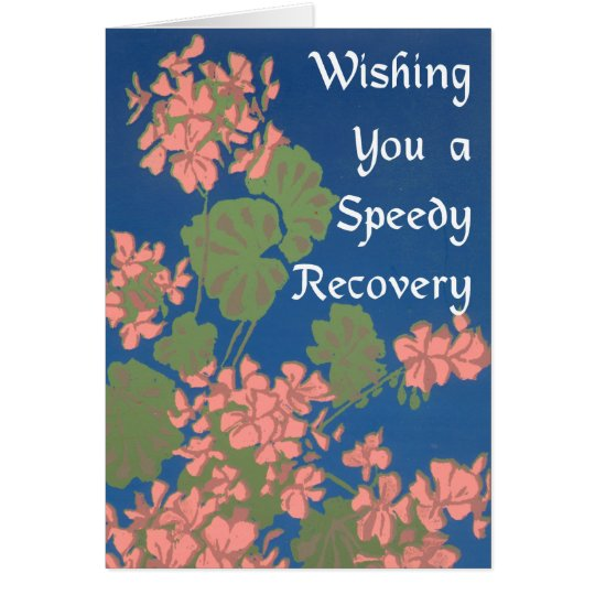 Salmon Pink Geraniums on Deep Blue Get Well Card
