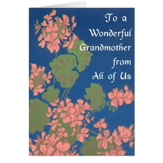 Salmon Pink Geraniums on Deep Blue, Grandmother Card