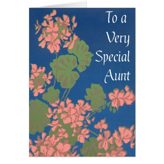 Salmon Pink Geraniums on Deep Blue, Special Aunt Card